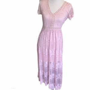 Embroidered short sleeve pink lace maxi dress